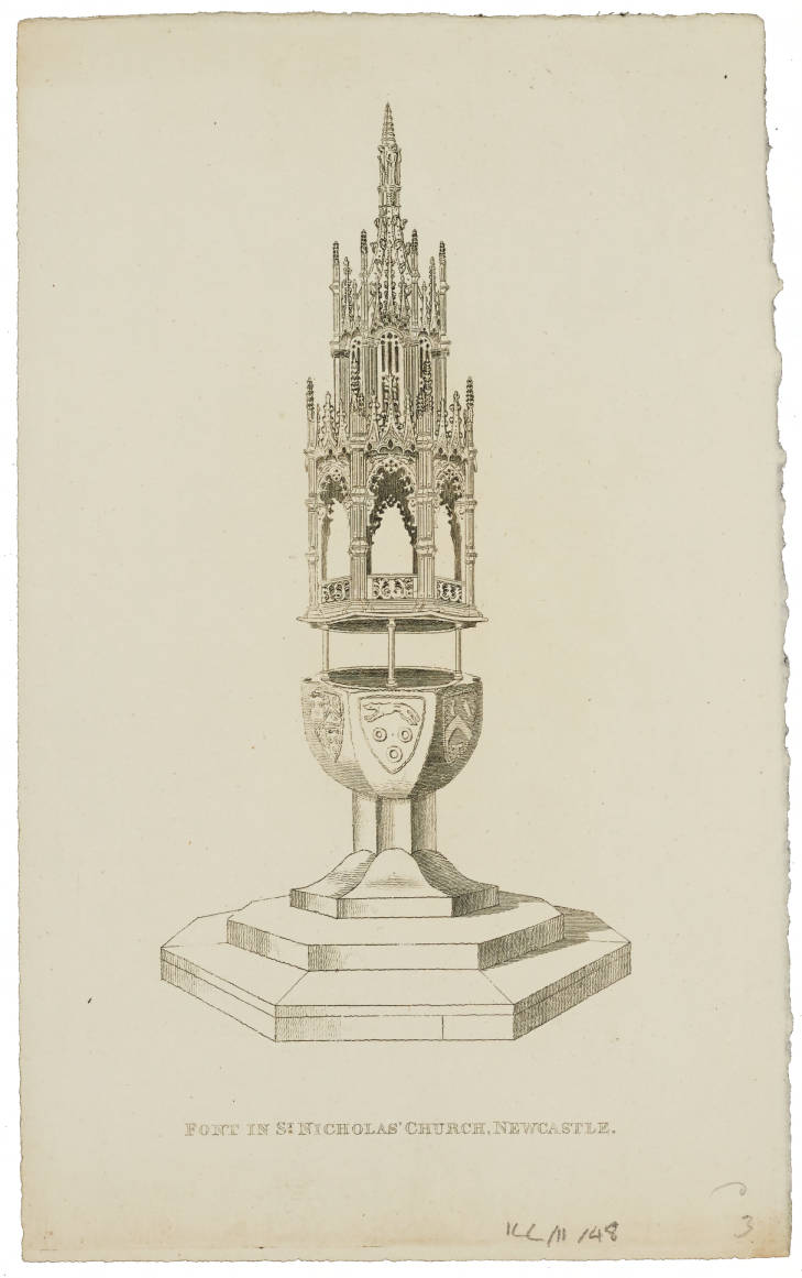 Illustration of font inside St. Nicholas' Cathedral